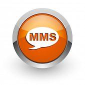 mms orange glossy web icon