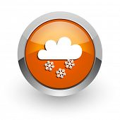 snowing orange glossy web icon