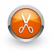 scissors orange glossy web icon