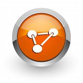 chemistry orange glossy web icon