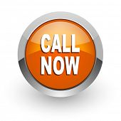 call now orange glossy web icon