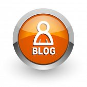 blog orange glossy web icon