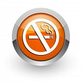 no smoking orange glossy web icon