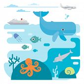 Illustration of whale, fish, jellyfish, octopus, dolphin and ship. Illustration of whale, fish, jell