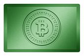 stock photo of bronze silver gold platinum  - Green metal texture with bitcoin logo stamp on it and and clippingpath for white removal - JPG