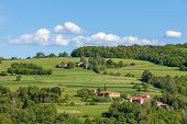 Rural houses on green pasture among trees under blue sky in Piedmont, Northern Italy.