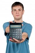 Portrait of man with calculator on isolated white background