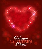 Valentines Day background with heart shape and sparks. Vector eps 10.