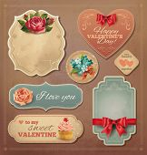 Valentine vintage cards set. Vector eps 10.