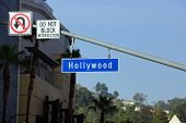 Blue And White Hollywood Boulevard Street Sign