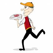 Pizza Boy Running for Delivery