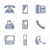 Set of glyph phone icons