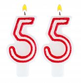 Birthday Candles Number Fifty Five Isolated