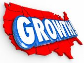 Growth 3d Word on a red United States of America map to illustrate increase or improvement in education, productivity, immigration, inflation, employment or other measurement