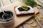 Bread with cheese and caviar