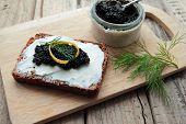 Sandwich with black caviar