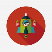 Space Rocket And Astronaut Flat Icon With Long Shadow,eps10