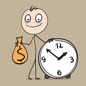 Time is money. Man holding bag of money and hours