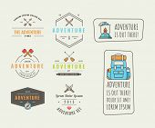 Icons for adventure in the style of flat