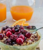 Breakfast Muesli Represents Orange Juice And Cereal