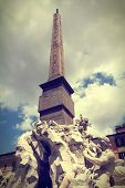 stock photo of obelisk  - Piazza Navona in Rome Italy  - JPG