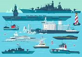 pic of ship  - Super set of water carriage and maritime transport in modern flat design style - JPG