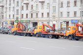 Moscow, Russia, December, 18, 2014: Car tow on the streets of Moscow