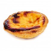 a pastel de nata, typical Portuguese egg tart pastry, on a white background
