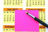 Pink Post It On Calendar