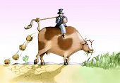 picture of riding-crop  - A banker rides a cow eating the crops and expels hamburgher - JPG