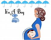 It's a boy birth announcement Pregnant woman boy's face on belly booties and umbrellas