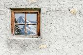 Mountain peak in the window