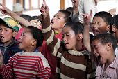 Tibetan children singing