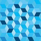 Seventies style abstract background in shades of blue with a seamless repeating design