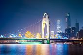 Guangzhou Liede Bridge At Night
