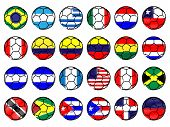 Footballs With Flags Of The Americas Pencil Style