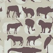 African Animals Seamless Pattern. Silhouette. Vector