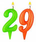 Birthday Candles Number Twenty Nine Isolated