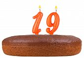 Birthday Cake With Candles Number 19 Isolated