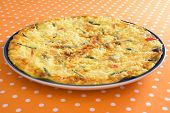 stock photo of egg whites  - Frittata with asparagus - JPG