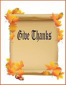 Give Thanks Vintage Papper Scroll With Autumn Leaves