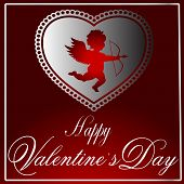 Valentine's Vector-Maroon & Silver Heart With Cupid 2