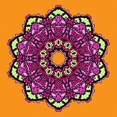 Violet stylized mandala over bright orange background. Vintage looking indian asian round pattern de