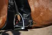 Close Up Of Rider Leg With Spur In Stirrup