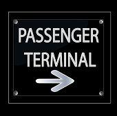 Black Passenger Terminal Signage
