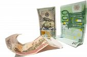 currency dollar and euro looking at fallen russian ruble