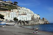 Amalfi beach and Positano village