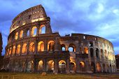 picture of illuminating  - illuminated Colosseum at twilight in Rome - JPG