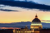 Dome Of Saint Peter At Dusk