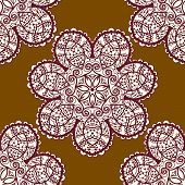 Seamless tribal pattern, delicate mandala floral design in henna color. Vector background. Vintage d